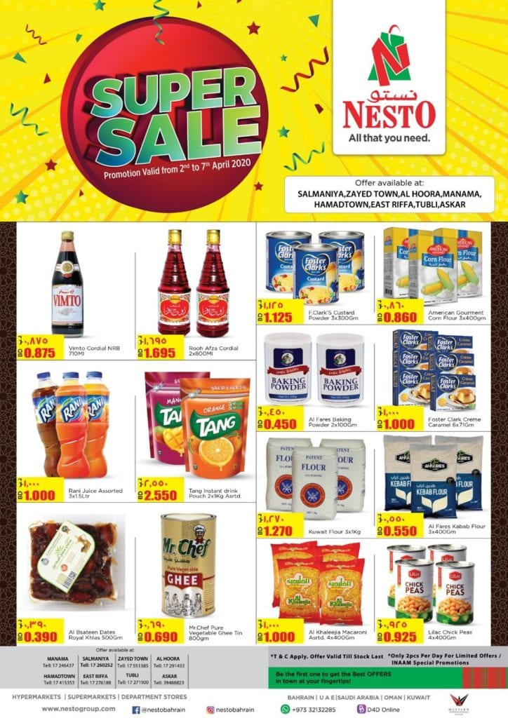 Super sale at Nesto Bahrain from 2 to 7 April