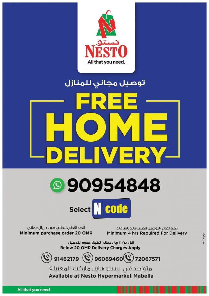 Great discounts at Nesto hypermarket Oman | FREE Delivery